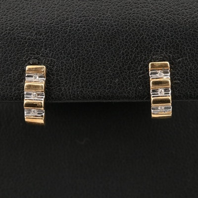10K Diamond J Hoop Earrings