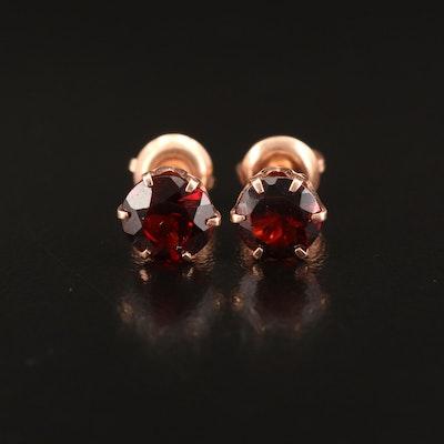 14K Rose Gold Round Faceted Garnet Stud Earrings