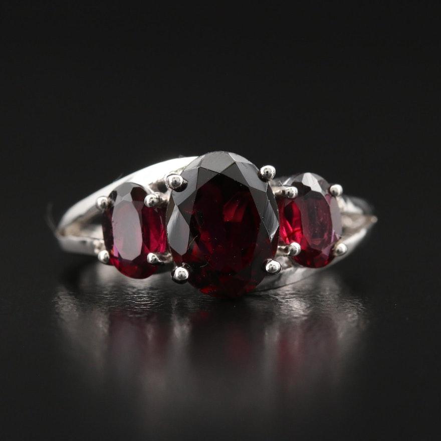 Sterling Garnet and Diamond Ring
