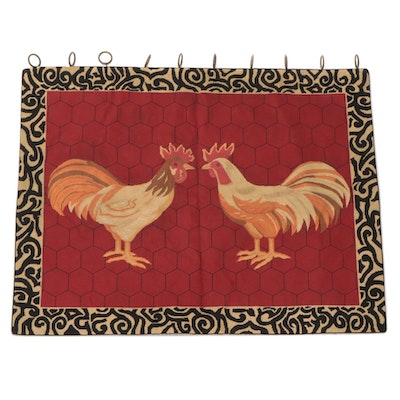 Handmade Needlepoint Wall Hanging of Roosters