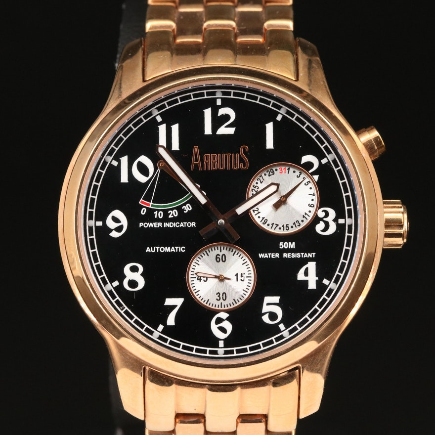 Arbutus New York Rose Gold Tone Automatic Wristwatch