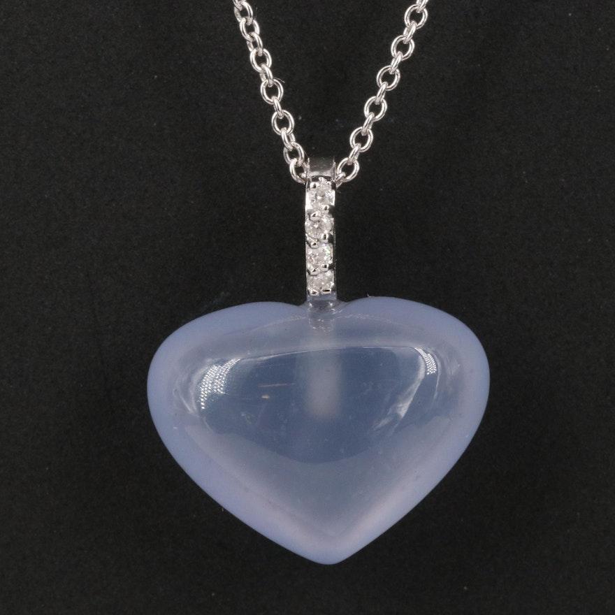 EFFY 14K Chalcedony and Diamond Heart Pendant Necklace