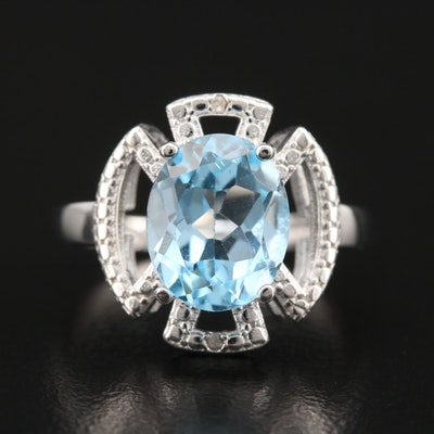 Sterling Topaz and Diamond Ring with Cut Out Details