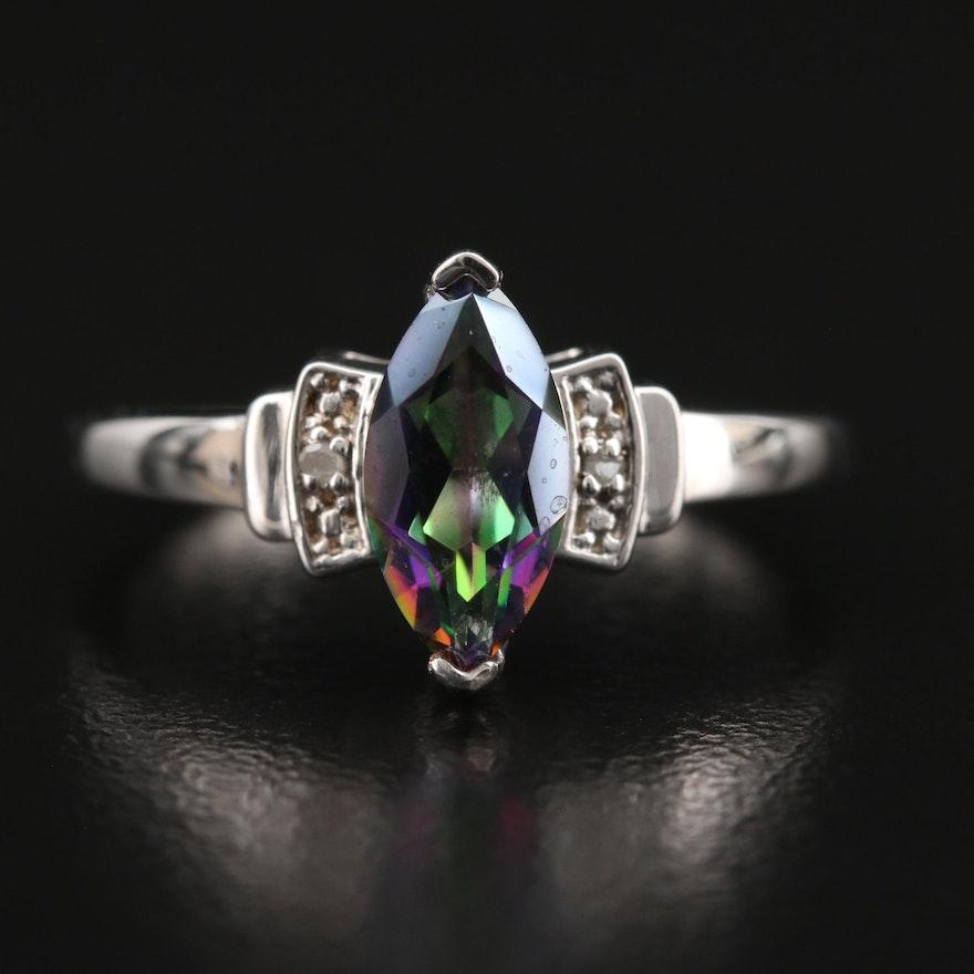 Sterling Mystic Quartz and Diamond Navette Ring