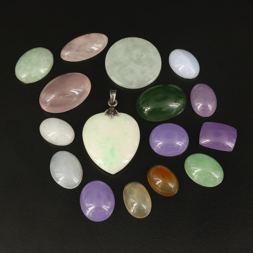 Sterling Heart Pendant and Loose Mixed Gemstones Including Rose Quartz and Agate