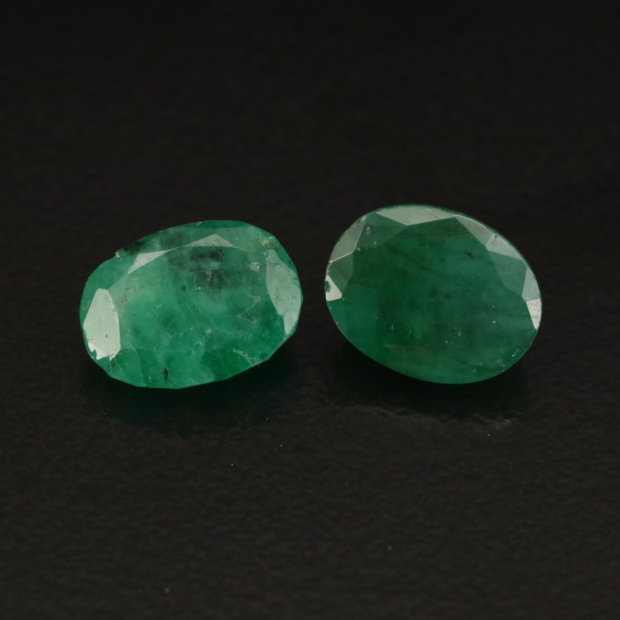 Loose Matched Pair 4.13 CTW Oval Faceted Emeralds