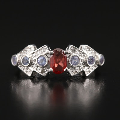 Sterling Garnet, Diamond and Tanzanite Ring