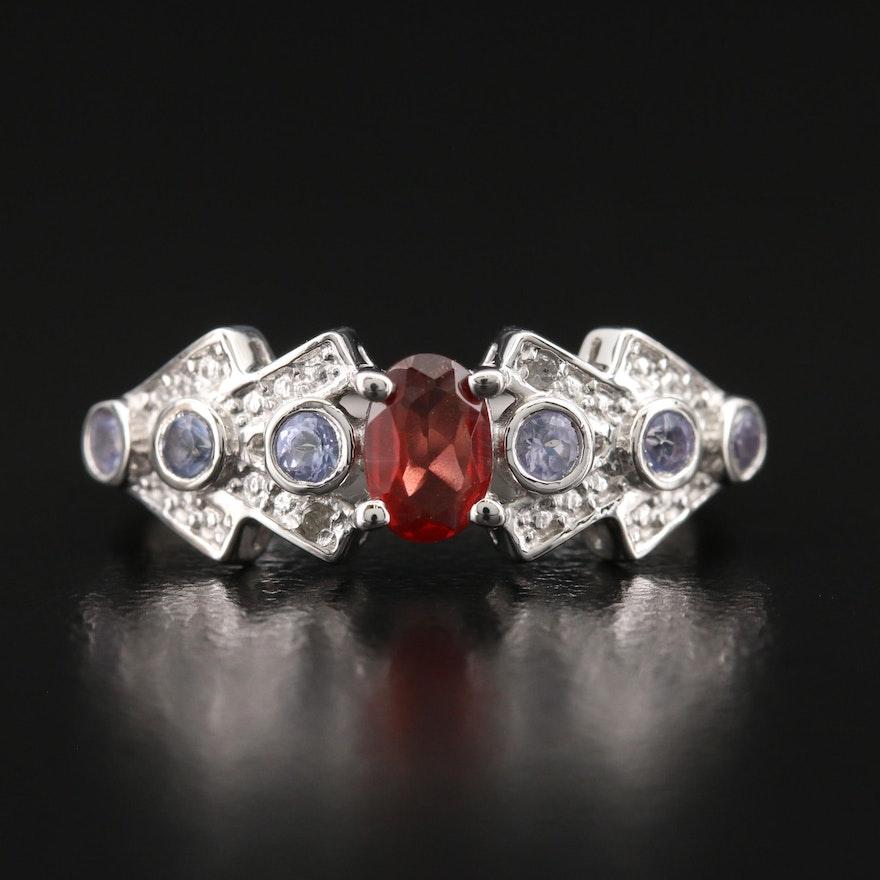 Sterling Garnet, Diamond and Tanzanite Ring