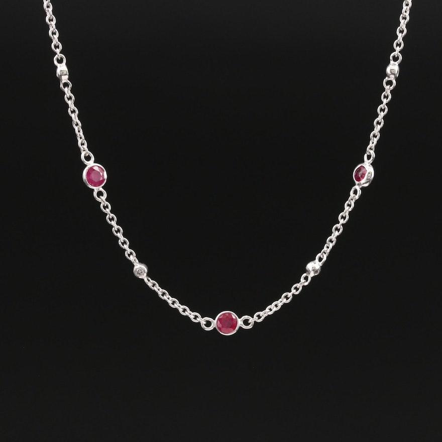 EFFY 14K Ruby and Diamond Station Necklace