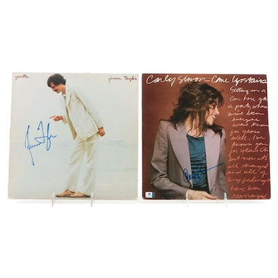 James Taylor and Carly Simon Autographed Vinyl Records with COAs and Photos