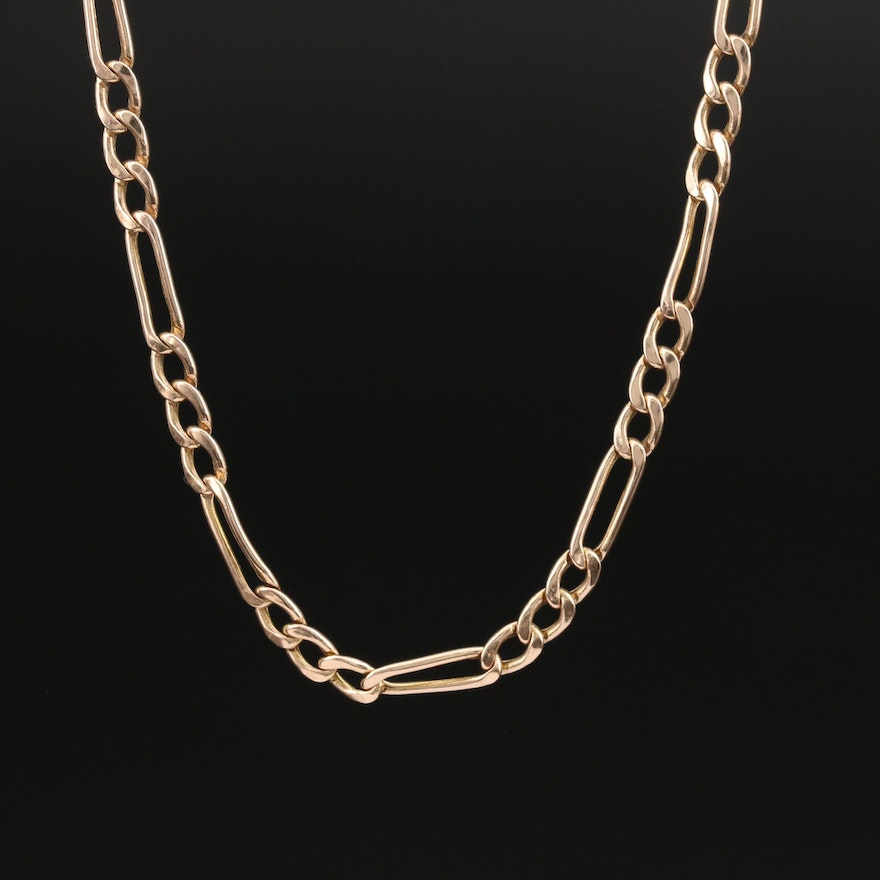 10K Rose Gold Figaro Chain Necklace