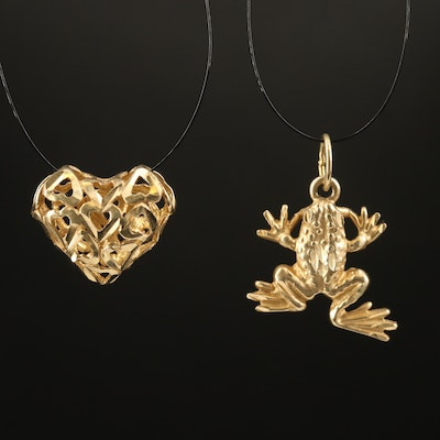 10K Heart and 14K Frog Pendant