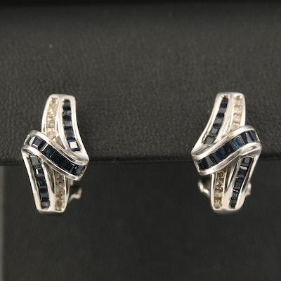 10K Sapphire and Diamond J-Hoop Earrings