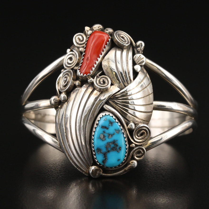 Pauline McCray, Navajo Dinè Sterling Turquoise and Coral Cuff