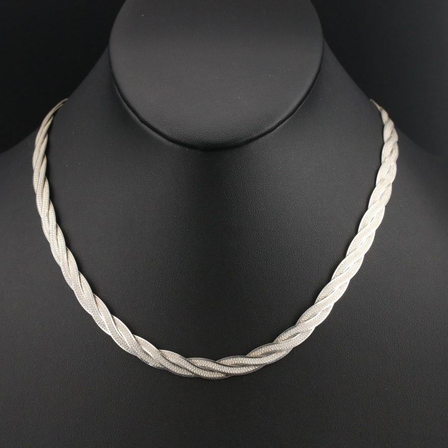 Italian Sterling Braided Herringbone Chain Necklace
