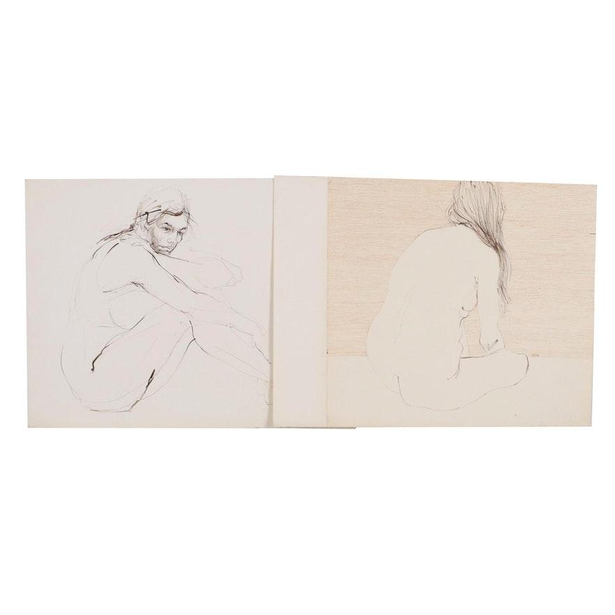 John Tuska Figure Study Ink Drawings, Late 20th Century
