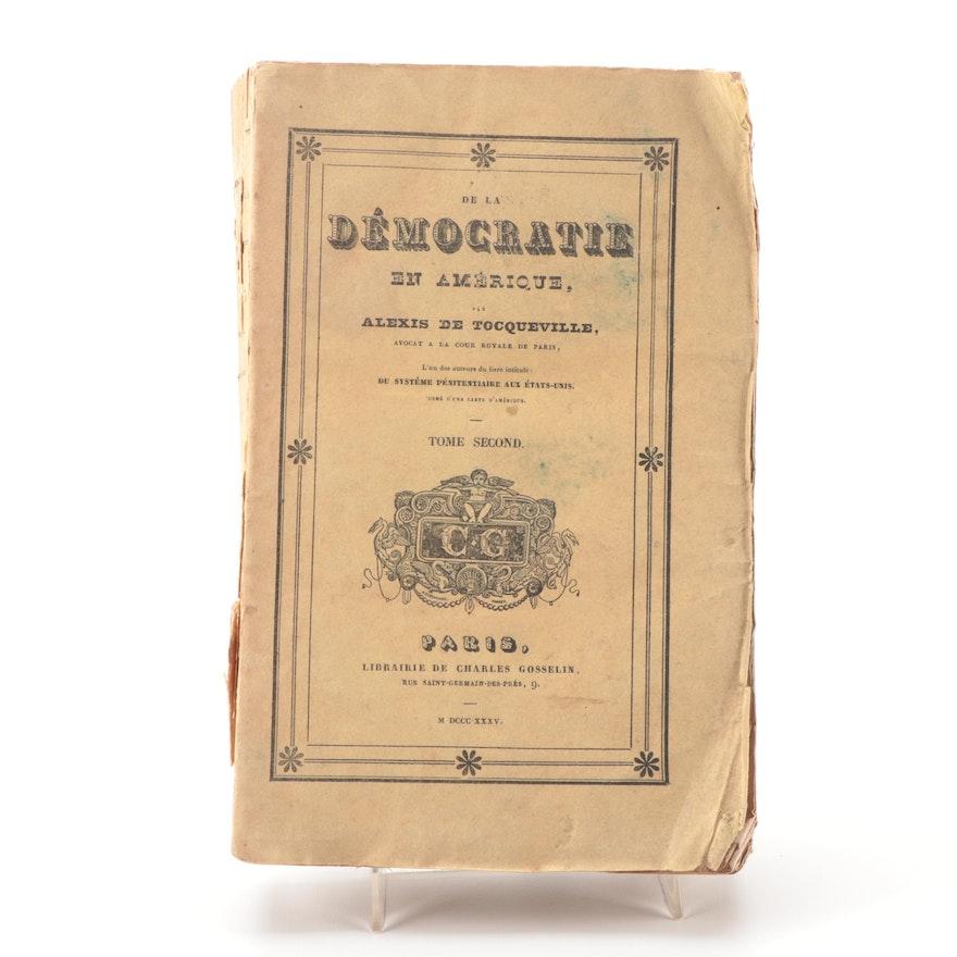 """French Language """"De la démocratie en Amérique"""" Vol. II, 1835"""