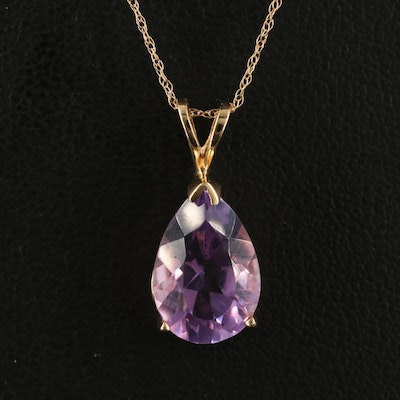 10K Amethyst Pendant on 14K Singapore Chain Necklace