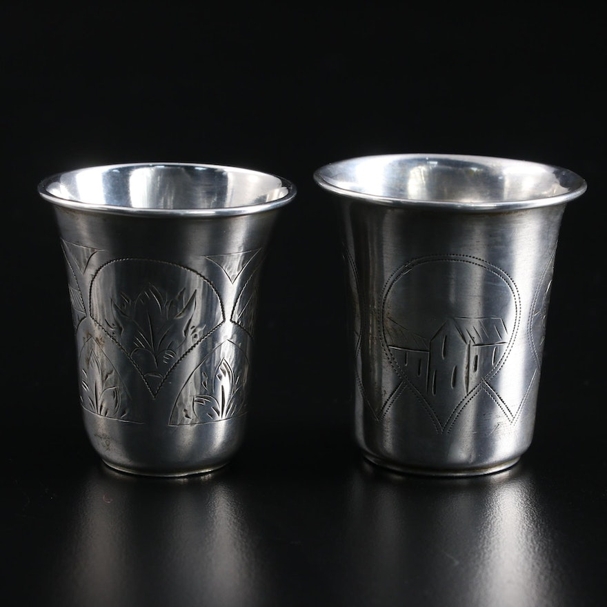 Russian Chased 800 Silver Vodka Cups, Late 19th Century