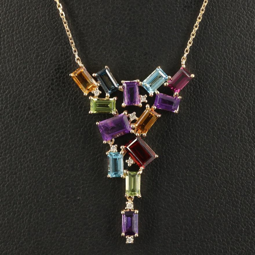 EFFY 14K Gemstone and Diamond Cluster Stationary Pendant Necklace
