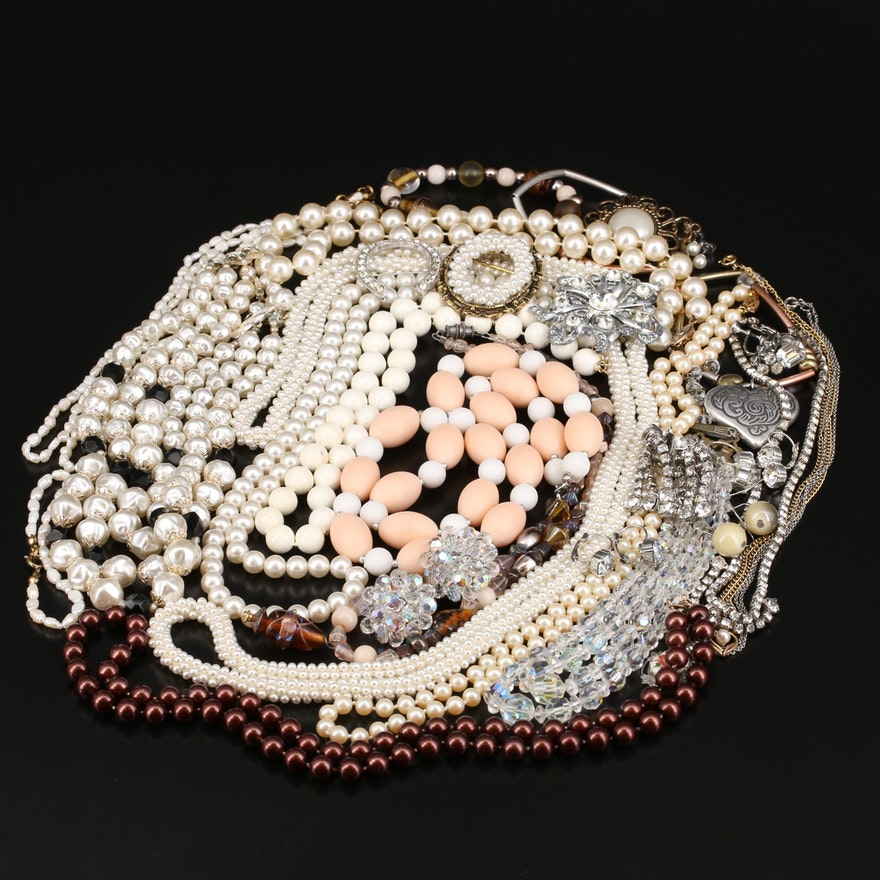 Vintage Rhinestone Jewelry Including Pearl, Glass and Faux Pearl