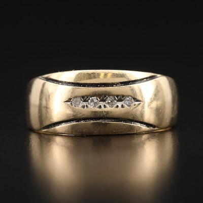 14K Diamond Tapered Band