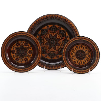 Ukrainian Style Carved Wooden Plates