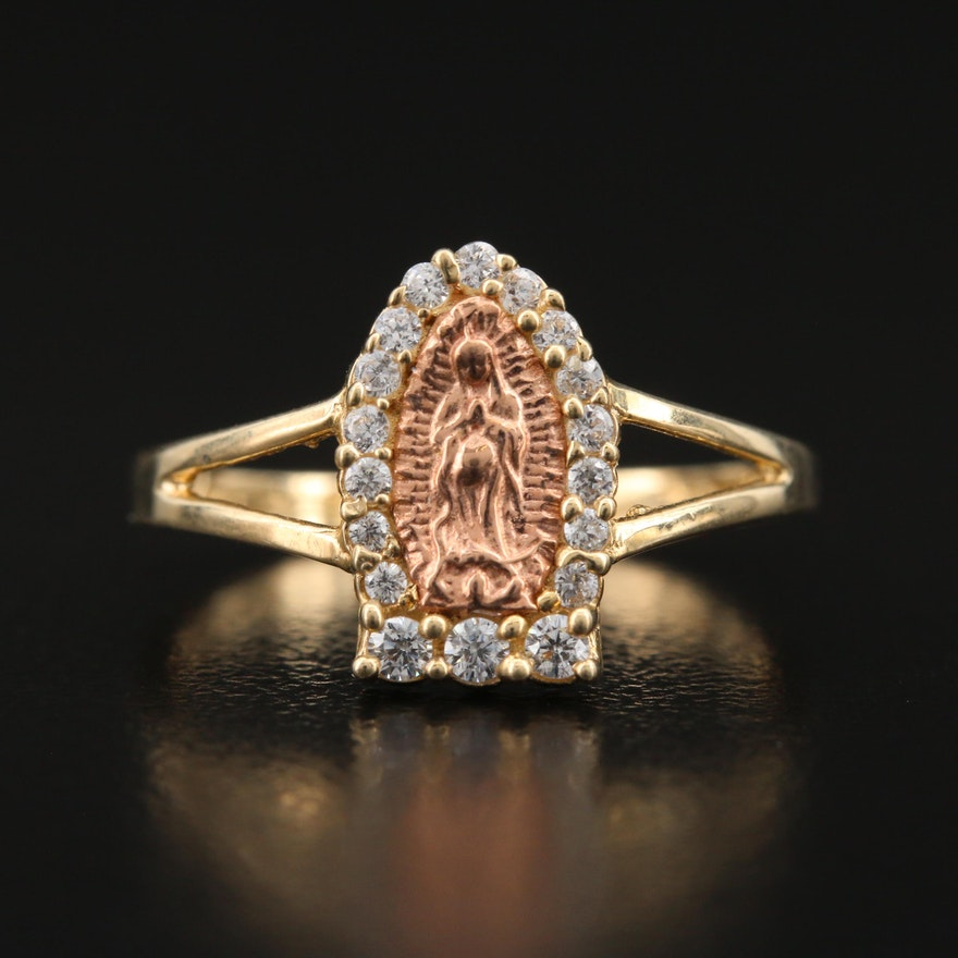 10K Cubic Zirconia Virgin Mary Ring