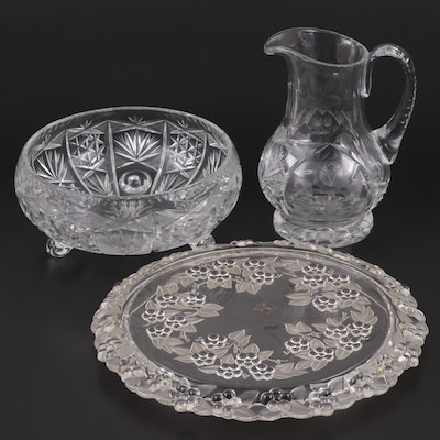 "Mikasa ""Carmen"" Crystal Cake Plate with Other Cut Glass Bowl and Pitcher"