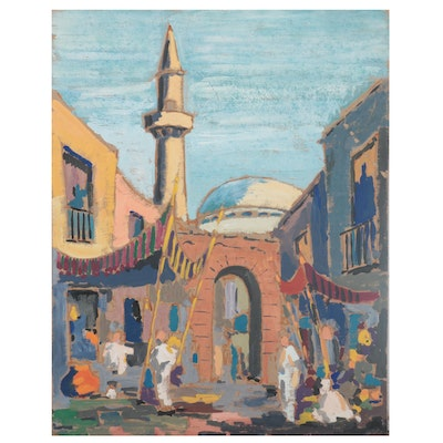 Middle Eastern Market Scene Gouache Painting