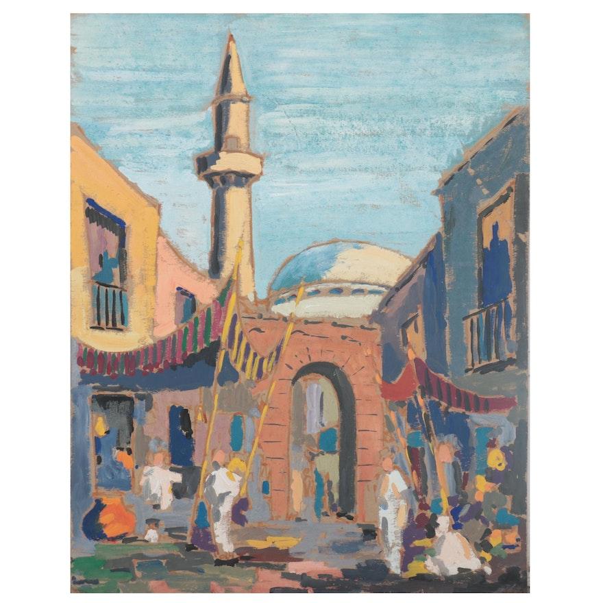 Middle Eastern Market Scene Gouache Painting