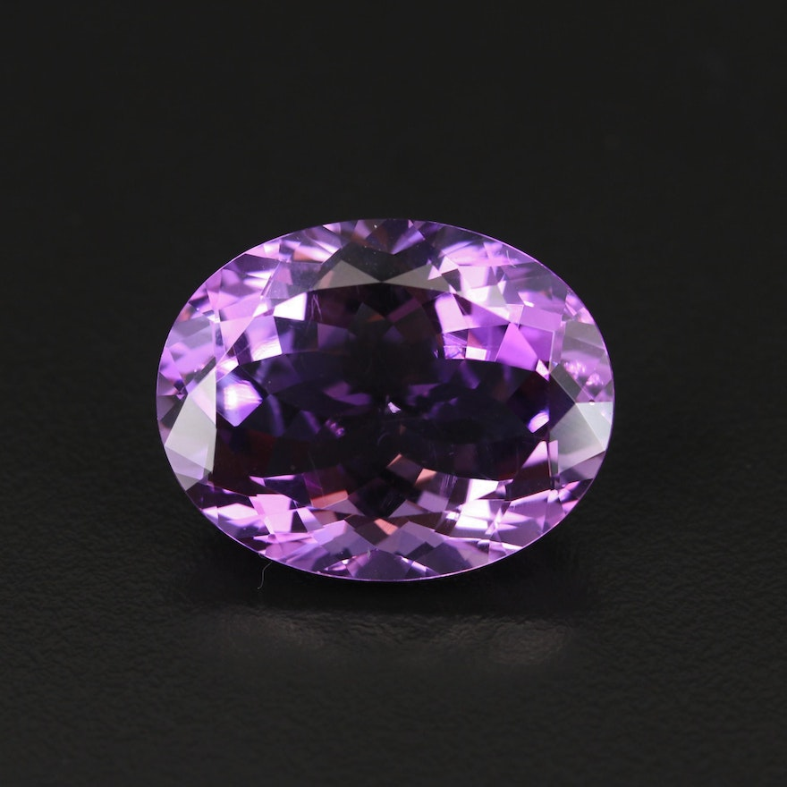 Loose 35.63 CT Oval Faceted Amethyst in Case