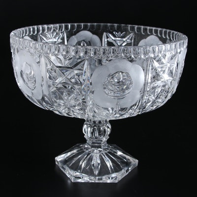 Rose Motif Pressed Glass Pedestal Bowl