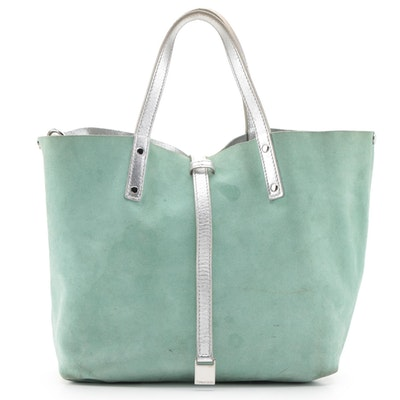 Tiffany & Co. Reversible Tote Bag in Silver Metallic Leather and Blue Suede