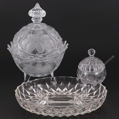 Etched Glass Compote with Strawberry Motif, Sugar Bowl, Spoon and Divided Dish