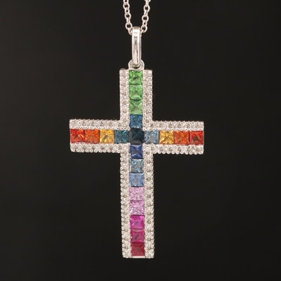EFFY 14K Gemstone and Diamond Cross Pendant Necklace