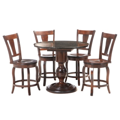 Furniture Fair Counter Height Granite Pub Table and Barstools