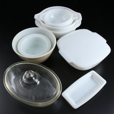 """Pyrex """"Gooseberry"""" Mixing Bowl with Other Bowls and Casserole Dishes"""