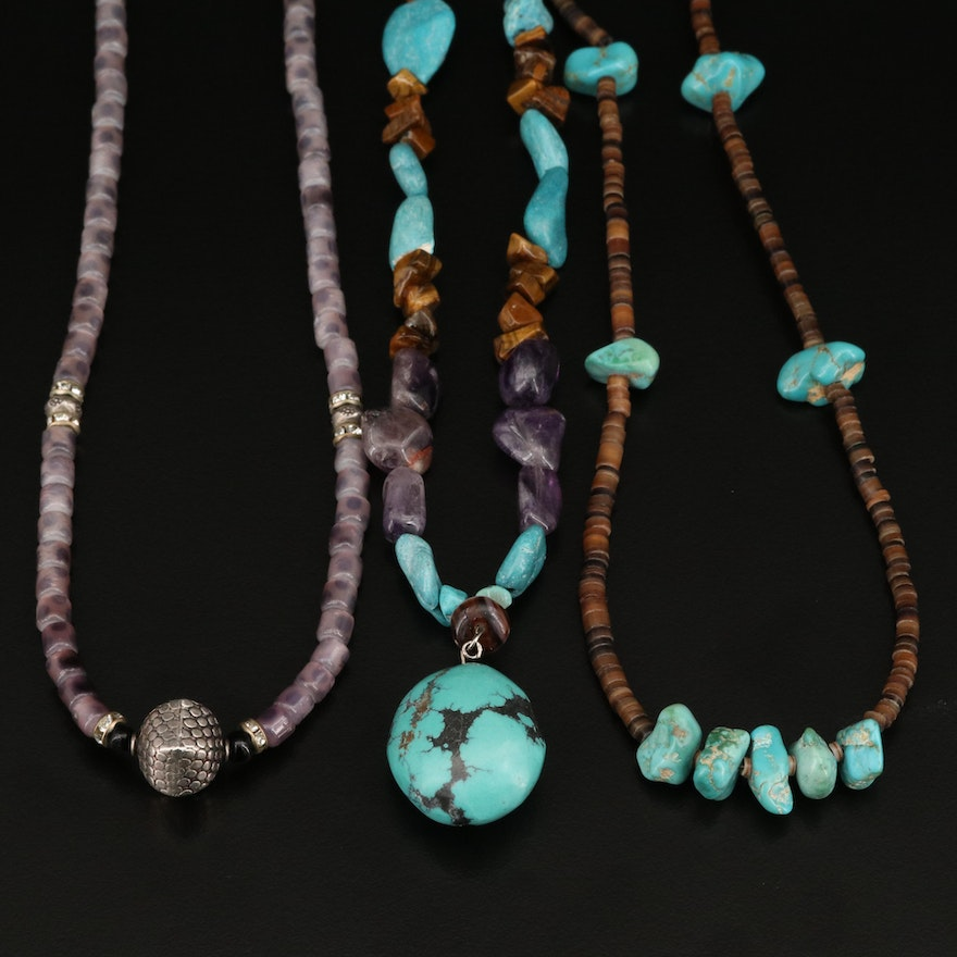 Necklaces Including Tiger's Eye, Horn, Amethyst and Turquoise
