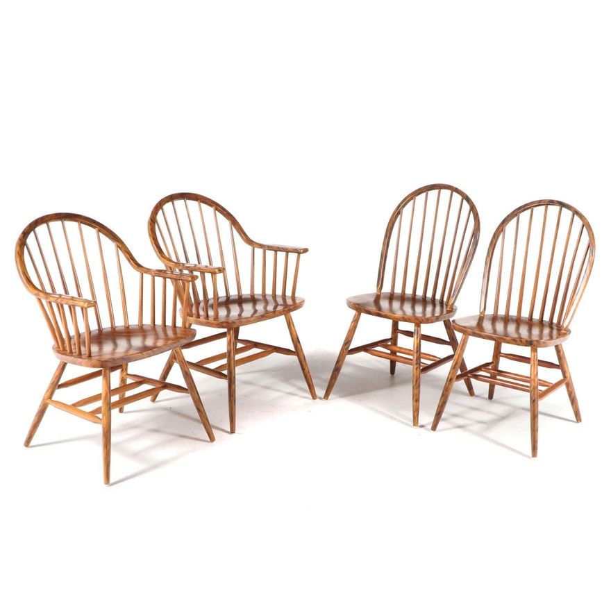 Four Grain-Painted Beech Bow-Back Windsor Dining Chairs