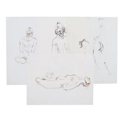 John Tuska Figural Nude Ink Studies