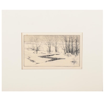 """Kerr Eby Etching """"Snow on the Aspetuck,"""" 1927"""