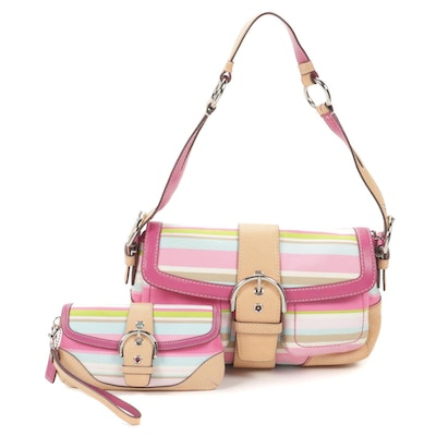 Coach Soho Twill and Leather Stripe Shoulder Bag with Wristlet