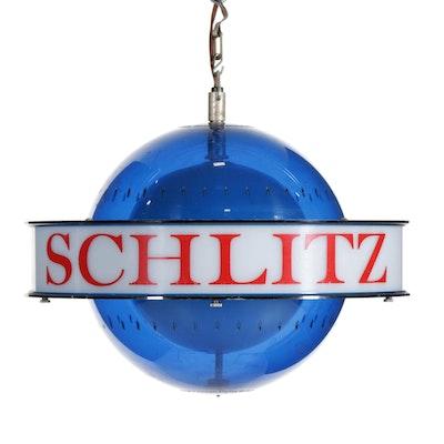 "Schlitz Beer Advertising ""Saturn Style"" Blue Globe Spinning Light Fixture, 1961"