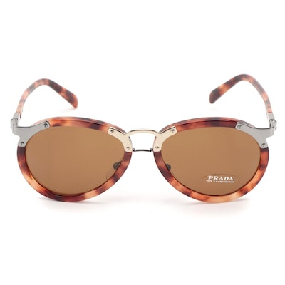 Prada SPR 01T Aviator Sunglasses in Red Tortoise Acetate
