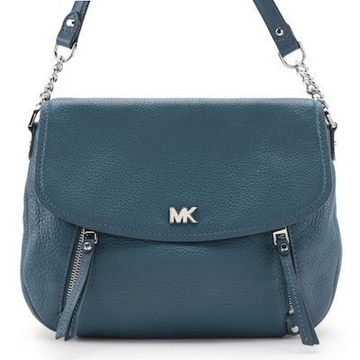 MICHAEL Michael Kors Evie Shoulder Bag in Blue Pebbled Leather