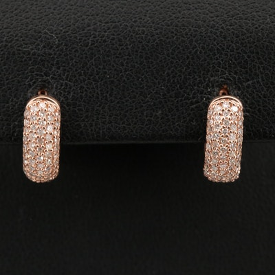14K Rose Gold Diamond Huggie Earrings