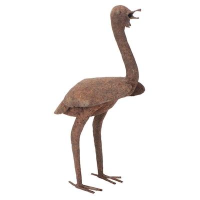 Ostrich Folk Art Metal Sculpture