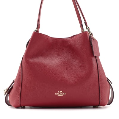 Coach Edie 31 Shoulder Bag in Polished Red Pebbled Leather