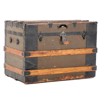 Late Victorian Slatted Wood, Canvas-Lined, & Metal-Bound Flat Top Steamer Trunk